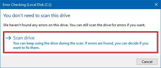 Hard drive error checking tool on Windows 10