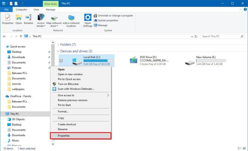 File Explorer drive context menu