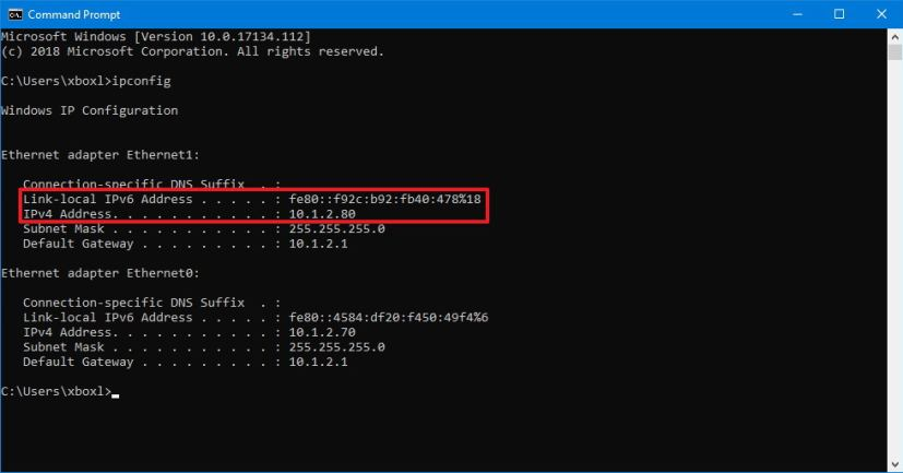 IP address information using Command Prompt
