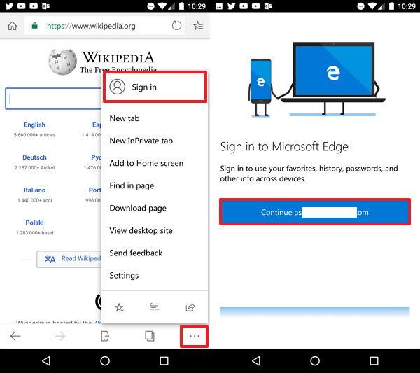 Microsoft Edge account setup on Android