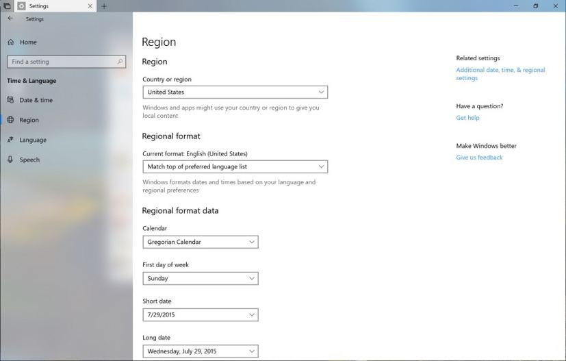 Region settings on Windows 10 build 17686