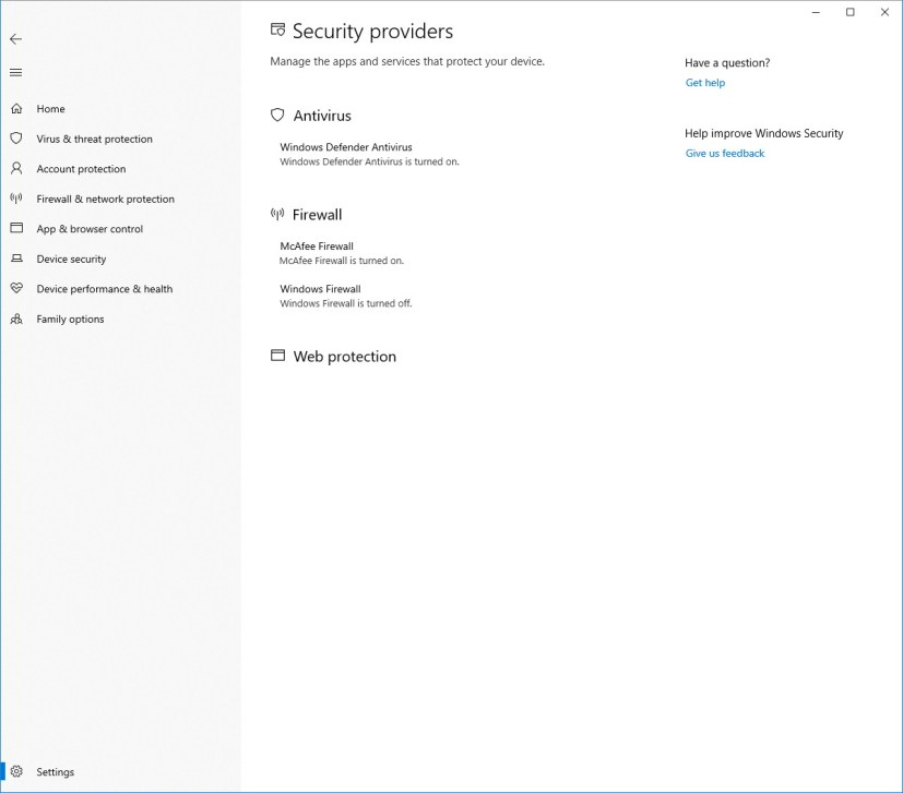 Security Providers settings on Windows Security