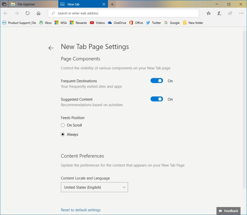 Sets New Tab page customization settings