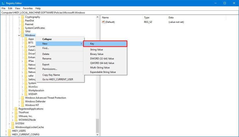 Windows Search key regedit