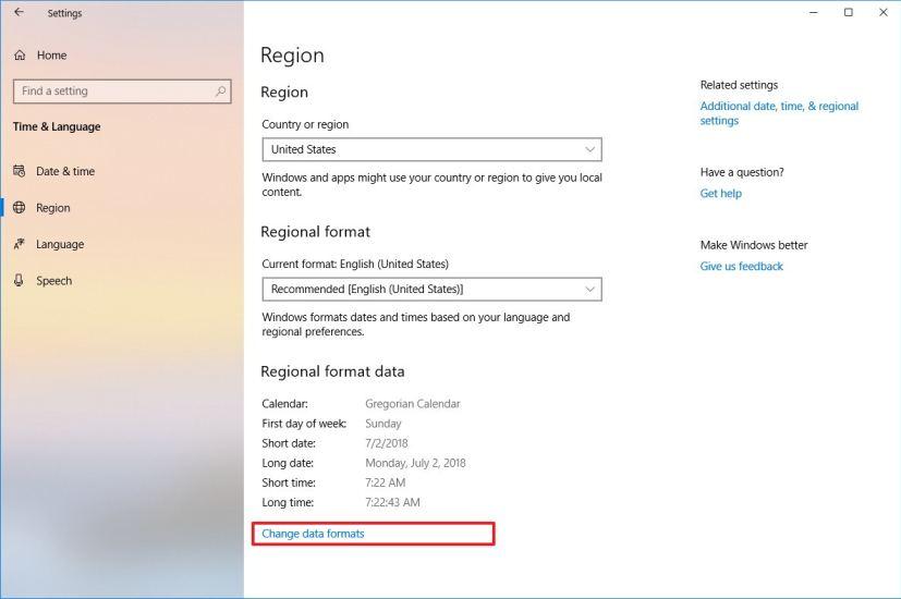 Regional data formats on Windows 10 version 1809