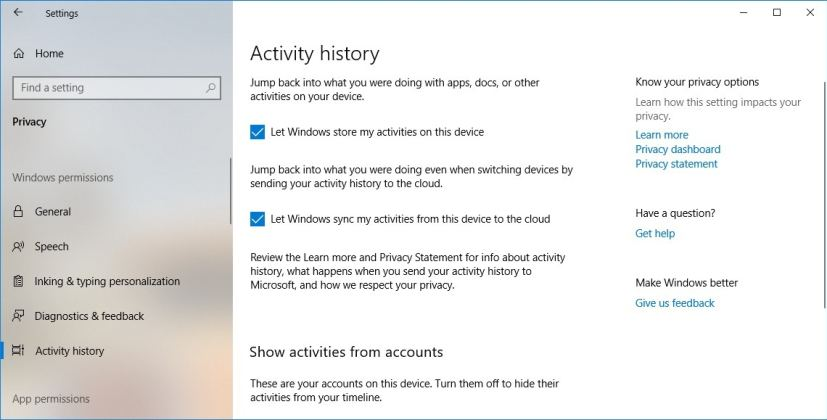 Activity history settings in the October 2018 Update