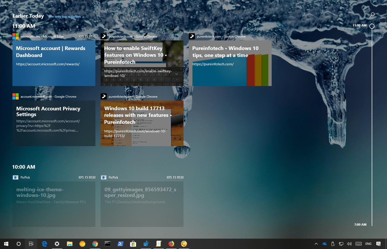 Chrome Windows 10 Timeline support