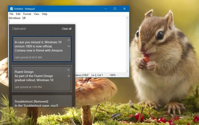 تجربة الحافظة على Windows 10 الإصدار 1809