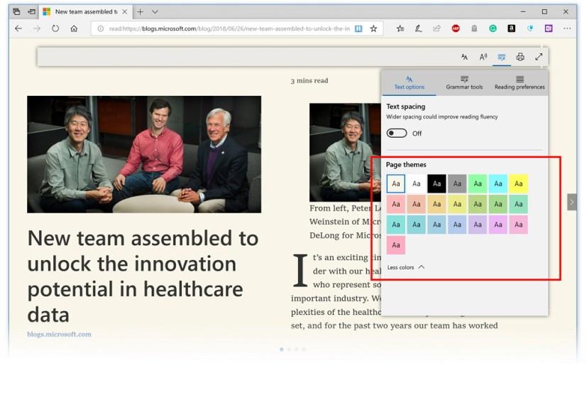Microsoft Edge new page themes