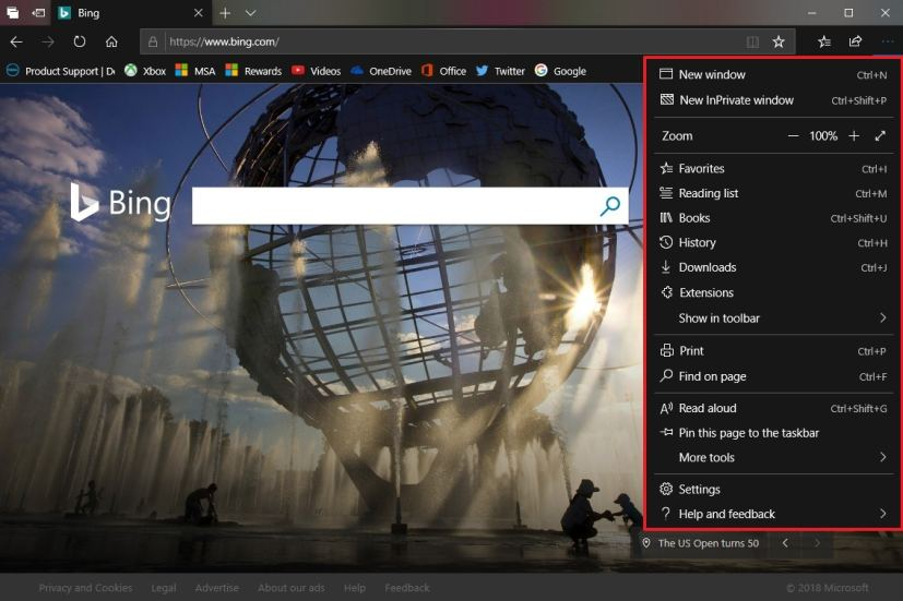 Microsoft Edge with new settings menu