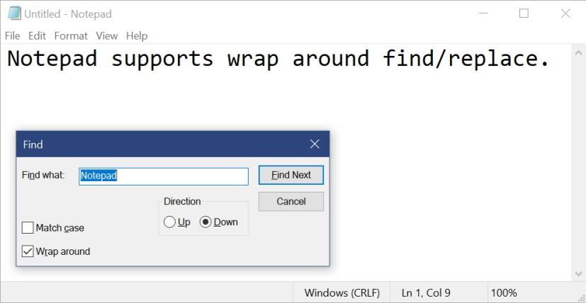 Notepad on Windows 10 build 17713