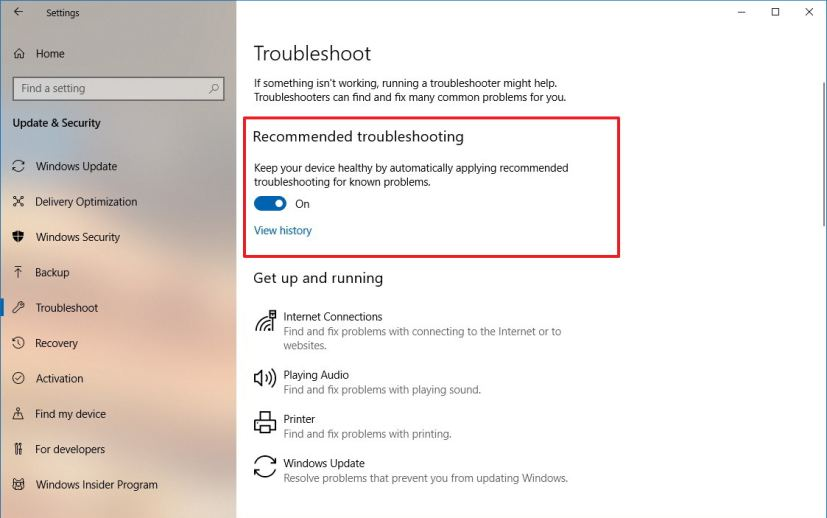 Recommended troubleshooting settings on Windows 10 version 1809