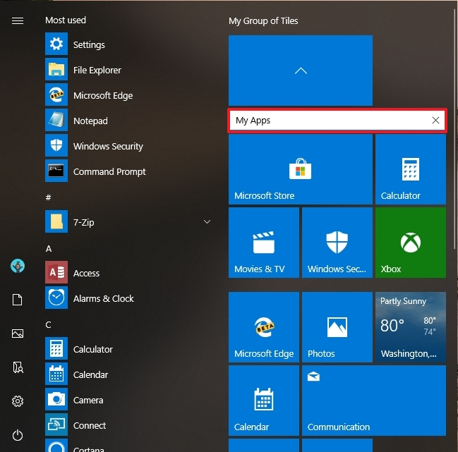 Start menu folder name option
