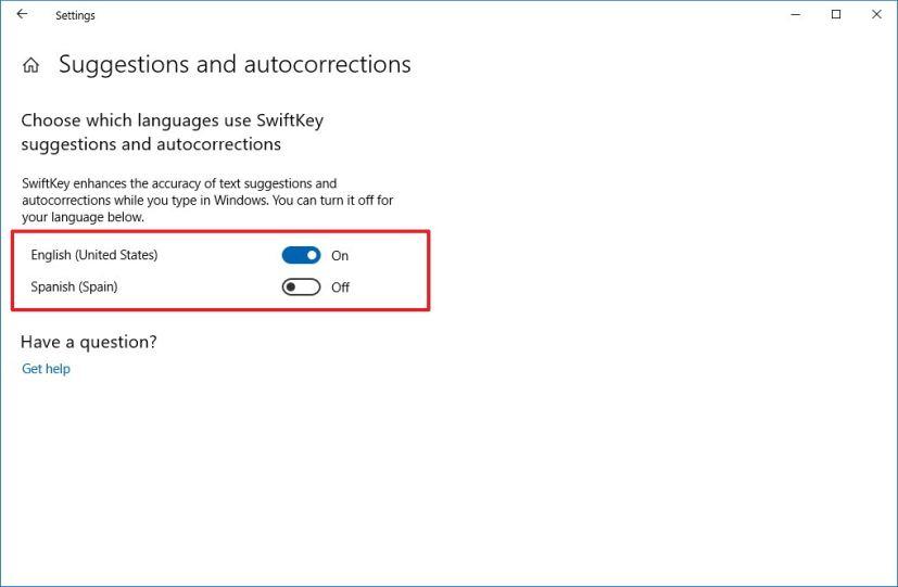 SwiftKey settings on Windows 10 October 2018 Update