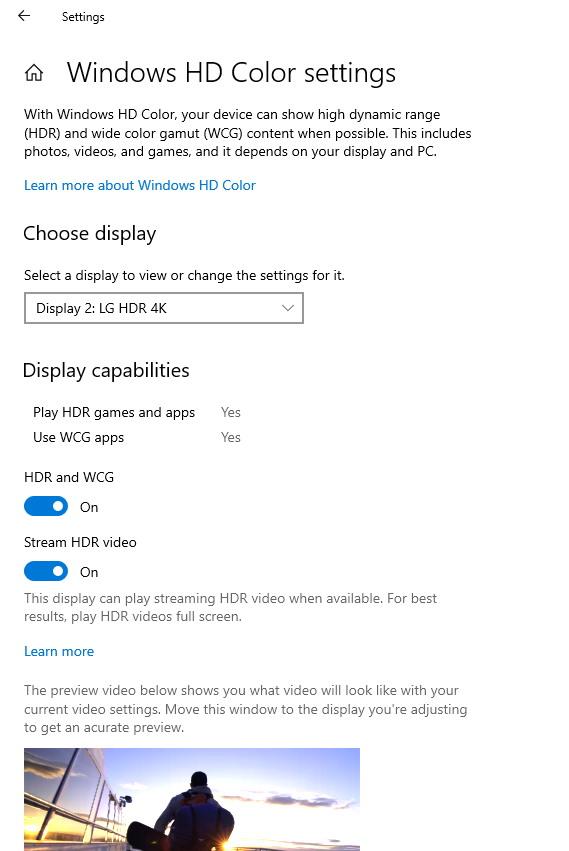 Windows HD settings on Windows 10 build 17711