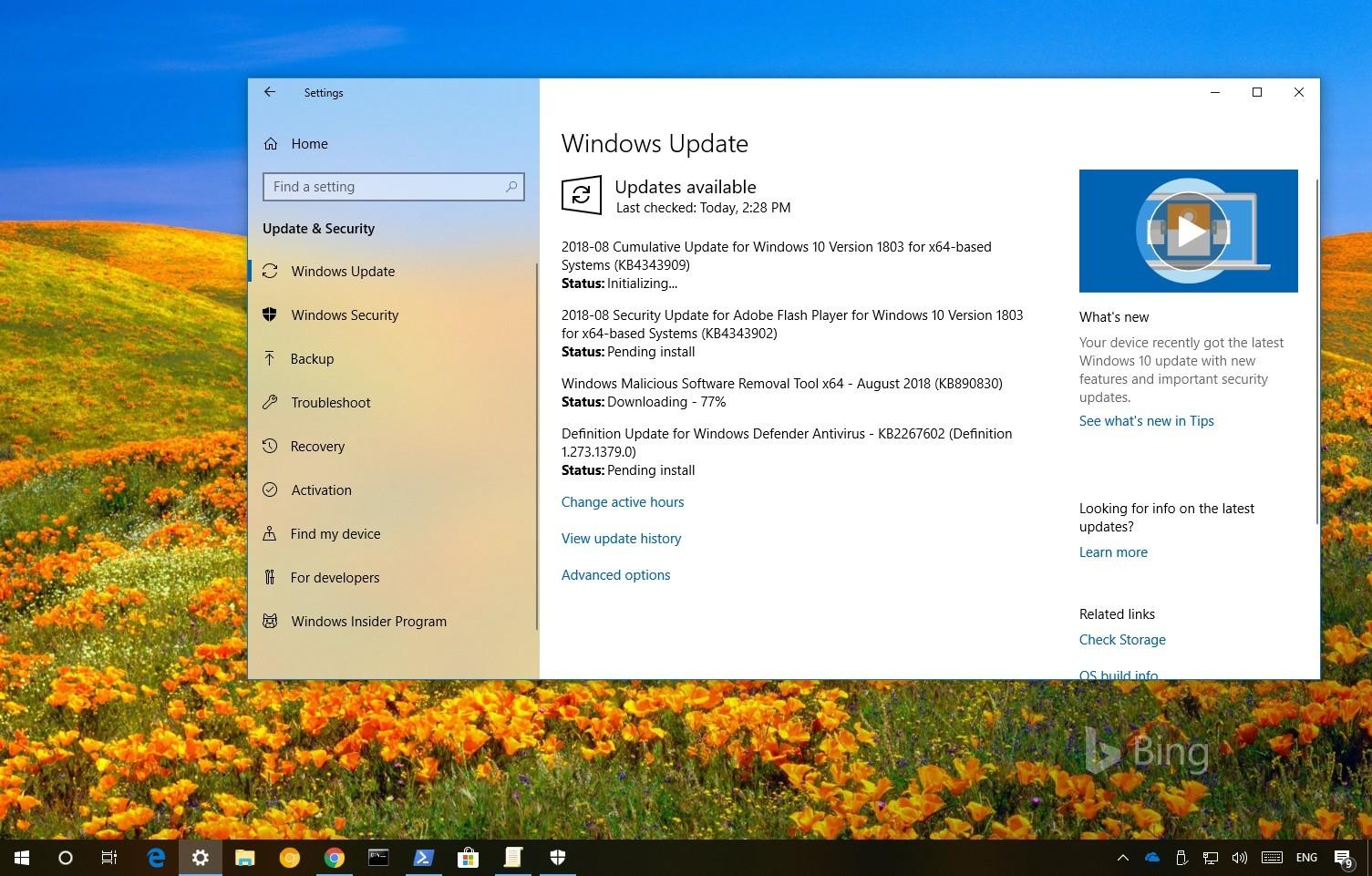 Windows 10 update KB4343909