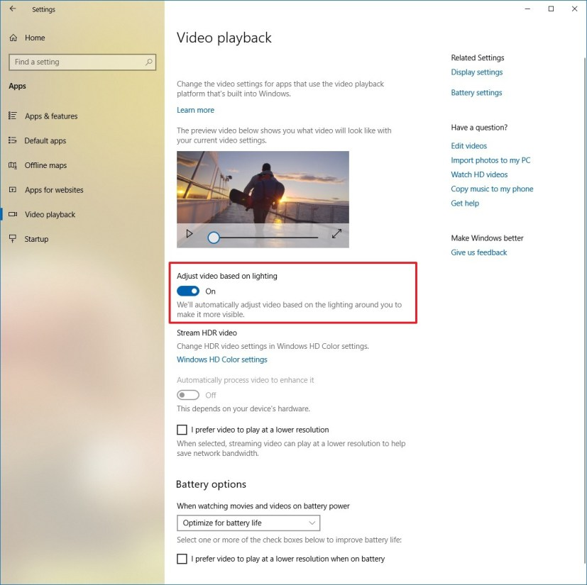 Adjust video based on lighting settings on Windows 10 Redstone 5