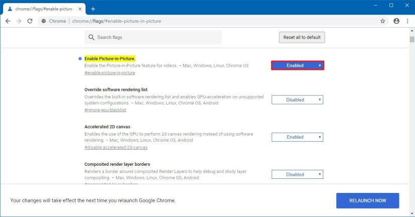 Chrome mengaktifkan pengaturan Gambar-dalam-Gambar
