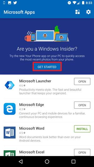 Microsoft Apps for Android