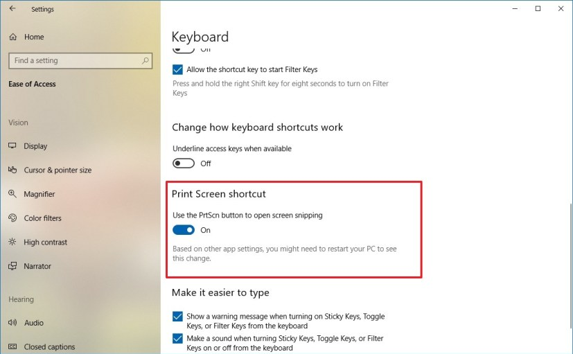 Print screen shortcut option on Windows 10 RS5