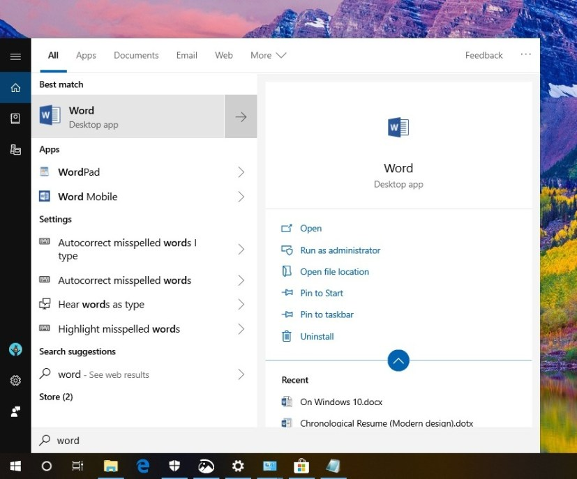 New search experience on Windows 10 version 1809