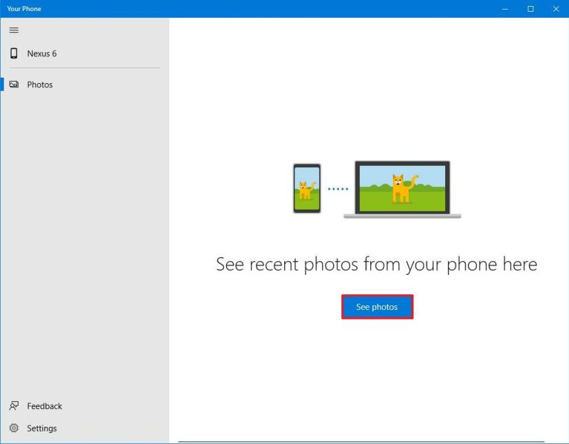Your Phone set up on Windows 10