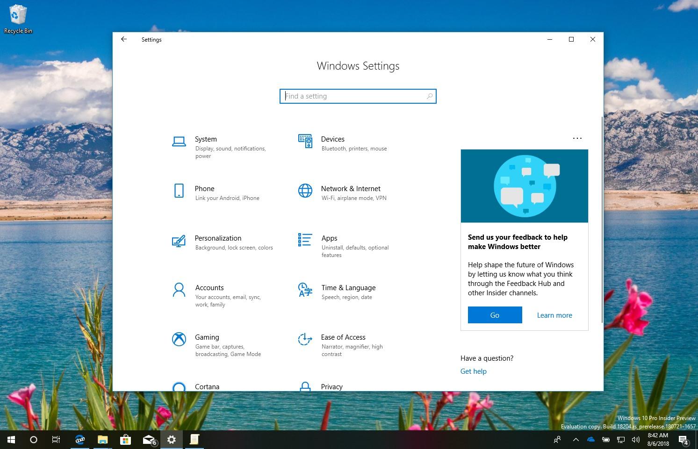 Settings app home ads on Windows 10