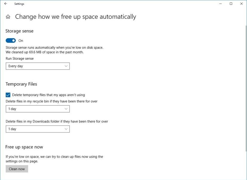 Windows 10 Storage Sense in version 1803