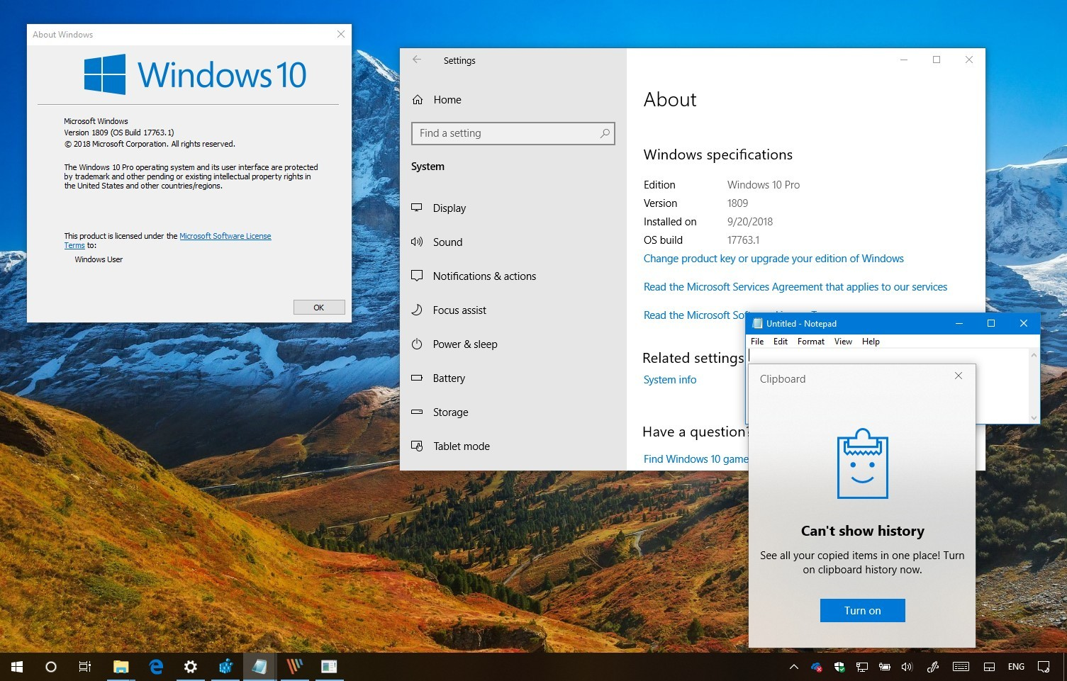 windows 10 1709 upgrade to 1809