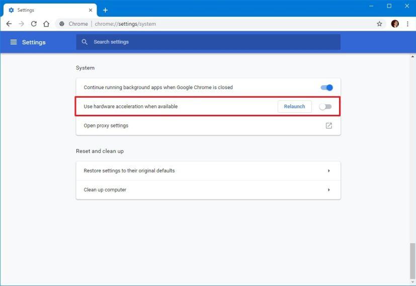 Google Chrome disable hardware acceleration