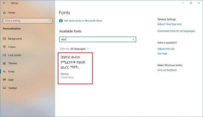 Windows 10 with Ebrima font