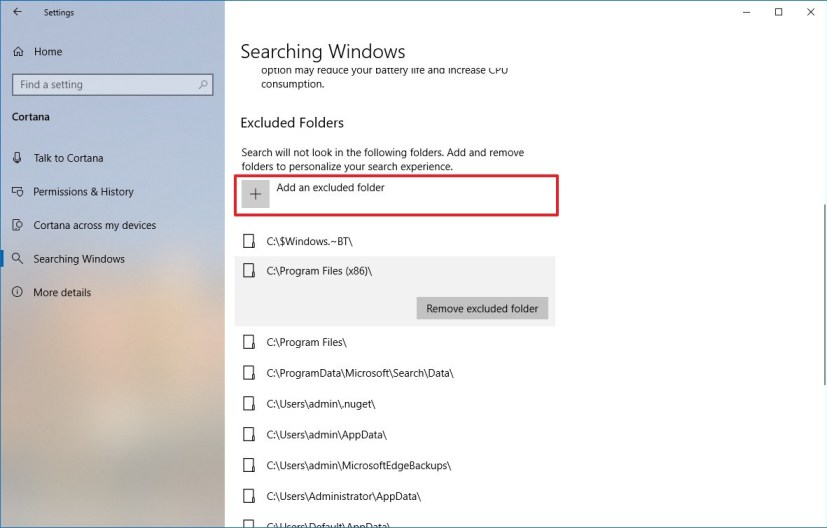 Exclude folders from search on Windows 10 version 1903