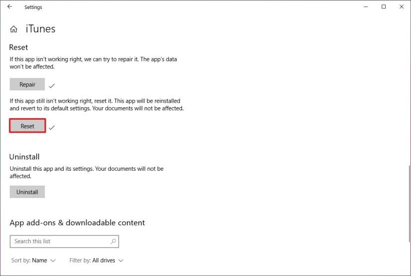 iTunes reset option on Windows 10