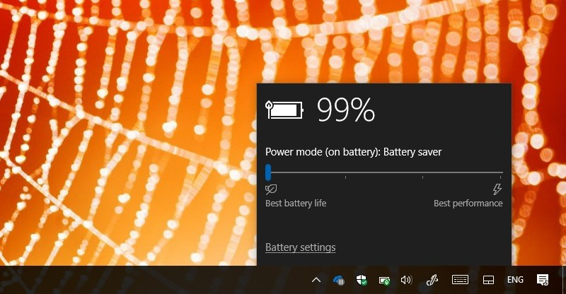 Battery flyout with battery saver enabled