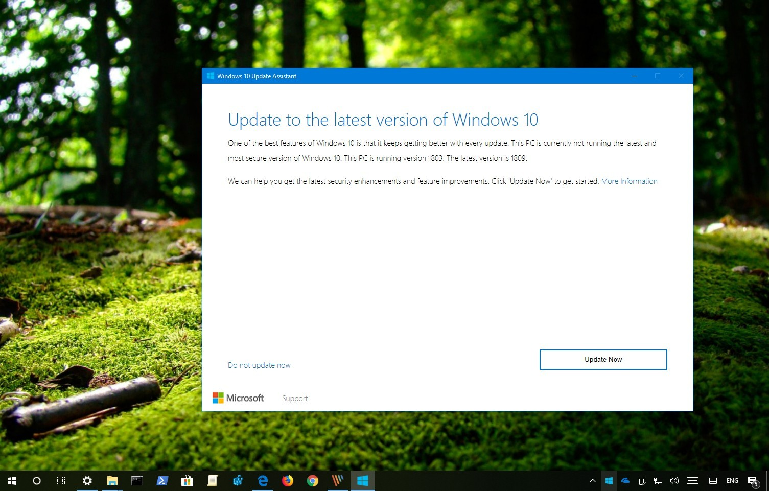 Windows 10 version 1809 download using Update Assistant