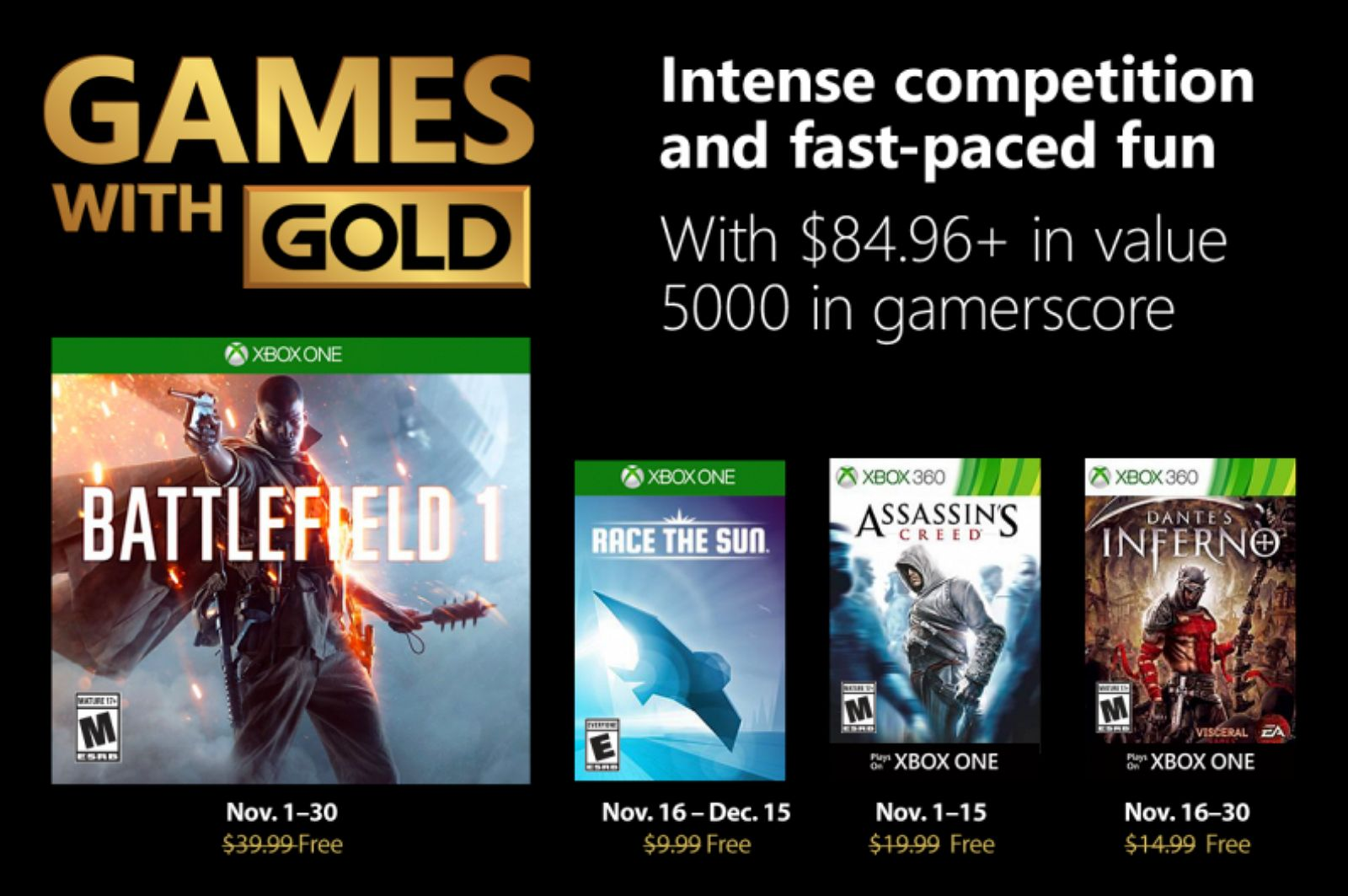 Xbox Games with Gold for November 2018