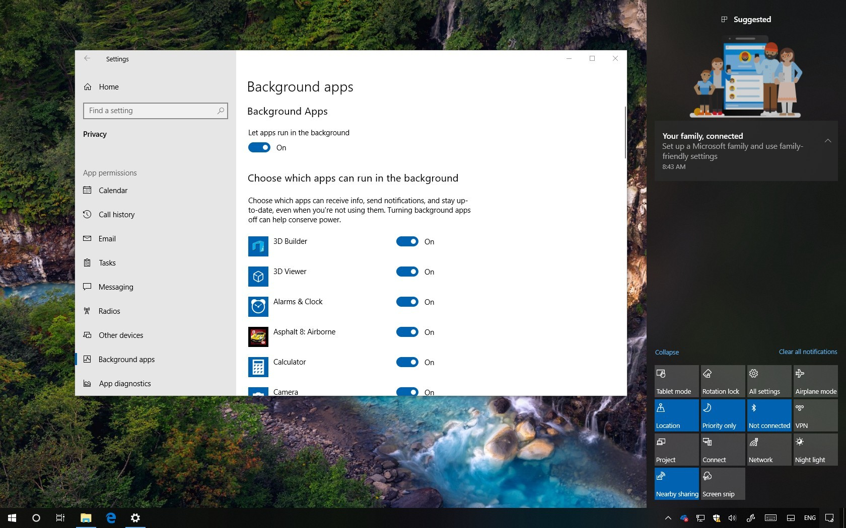 Windows 10 Action Center and Background apps settings