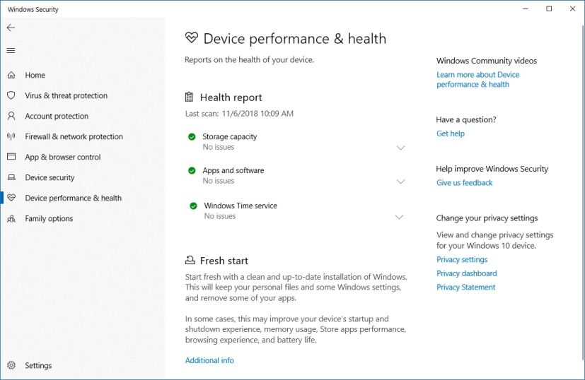Windows Security Device performance and health section