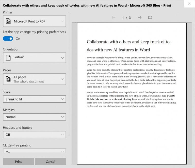 Windows 10 build 18282 printing options