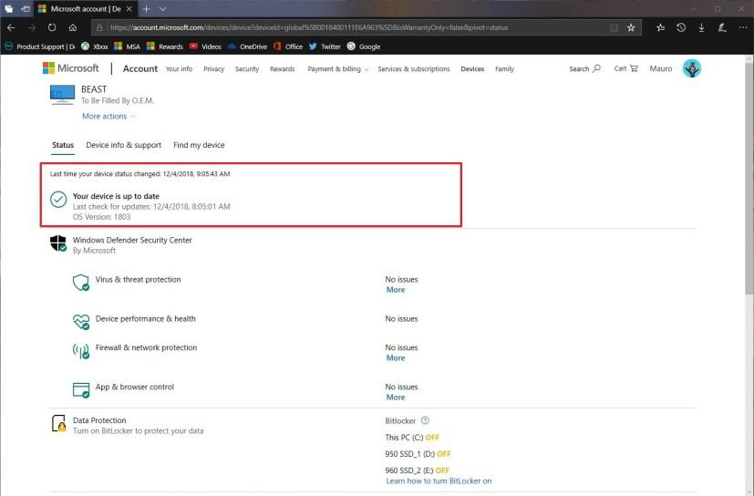 Windows 10 device update information