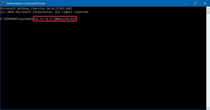 Delete hidden Recycle Bin with Command Prompt