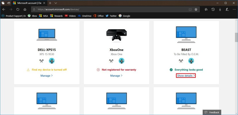Devices list on a Microsoft account