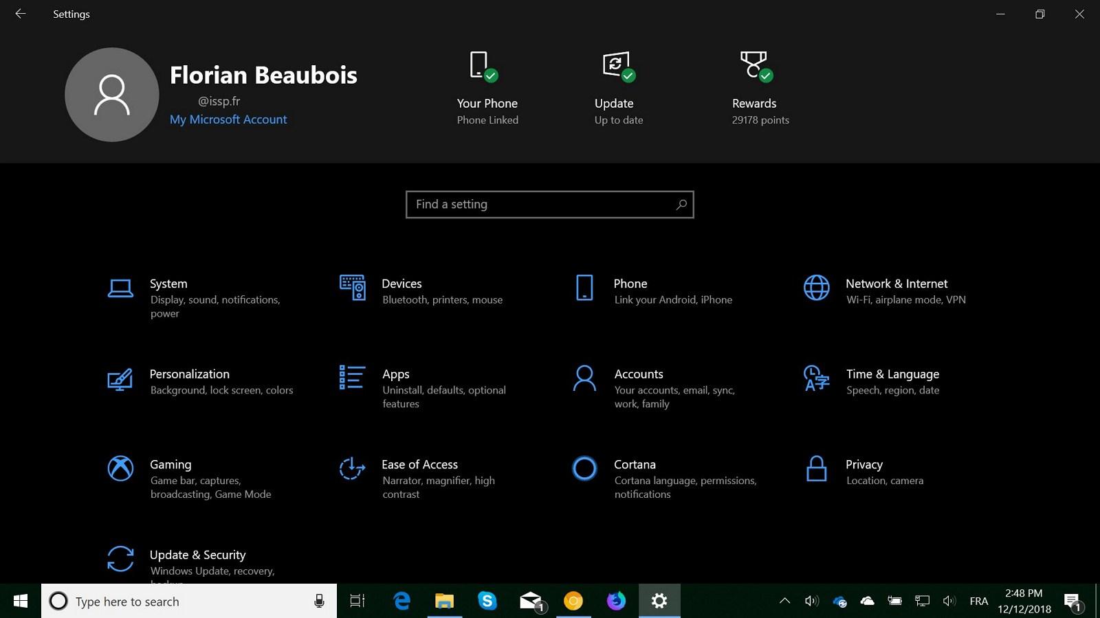 Settings app header design on Windows 10 version 1903