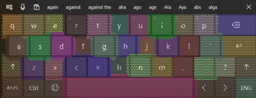 Touch keyboard key press prediction (mockup)