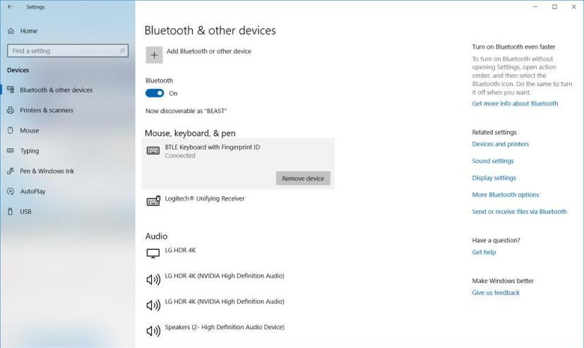 Microsoft Modern Keyboard connected