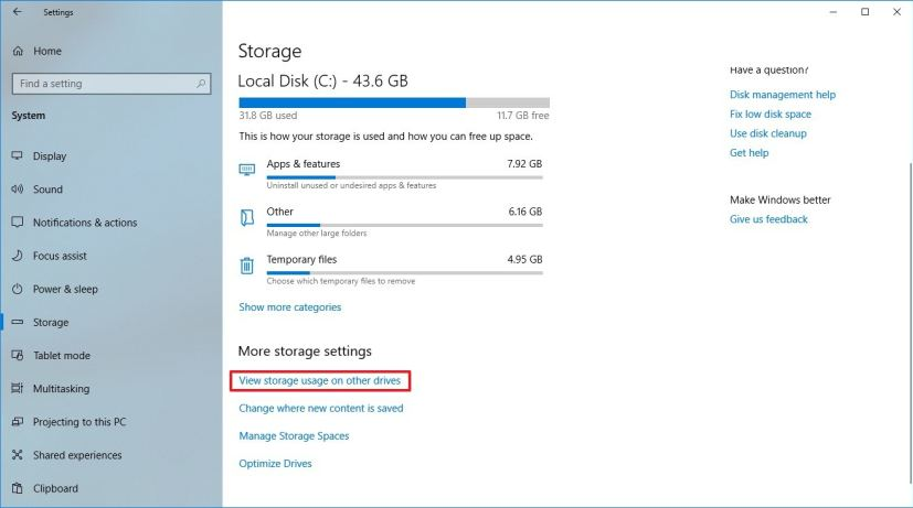 Windows 10 storage usage for other drivers