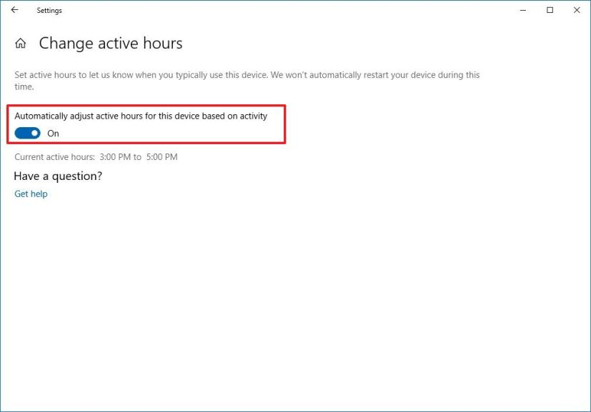 Automatic active hours settings on Windows 10 version 1903