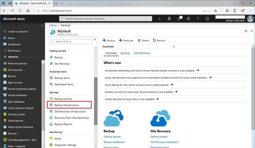Azure Backup Infrastructure option