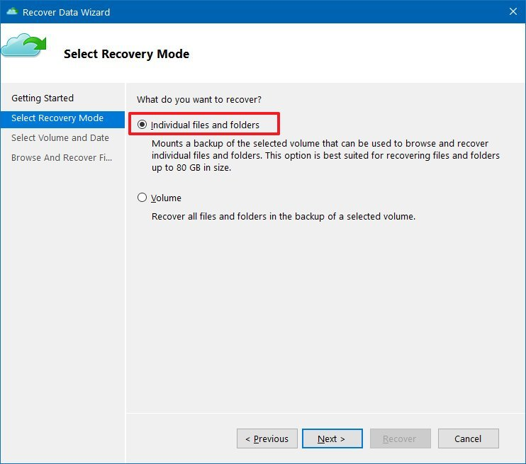 Azure backup recovery files and folders option