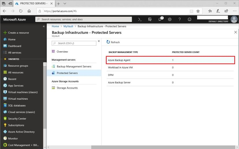 Azure Protected servers option